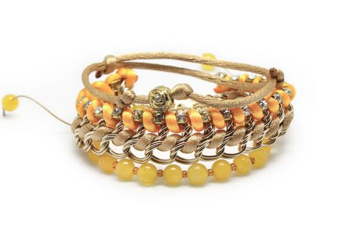 Handmade Jade Chain and Bead Stack Bracelet in Yellow, Orange and Gold