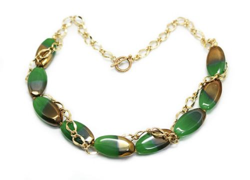 Green and Gold Electroplate Glass Toggle Clasp Chain Necklace