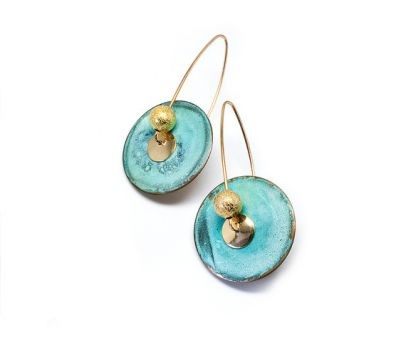Cyan Art Brass Earrings