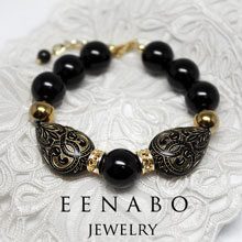 Black and Gold Onyx Hematite Bracelet, Vintage Style Gemstone Bracelet