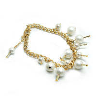 Gold Chain Shell Pearl Bracelet