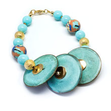 Blue and Gold Shell Pearl Bracelet