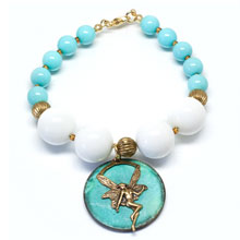 Agate and Shell Pearl Pendant Bracelet