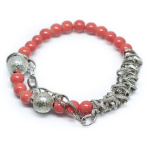 Pink and Silver Shell Pearl Strech Bracelet